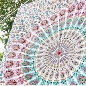 White, Pink, & Blue Mandala Tapestry Boho UO